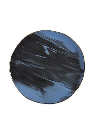 İpek Mavi Mermer Desen Servis Tabak 6 Lı Renkli